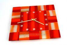 Zvětšit fotografii - Čtvercové fusingové skleněné nástěnné hodiny ruční výroby