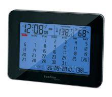 Stolní kalendář s DCF hodinami Techno Line černá/modrá + kalendář