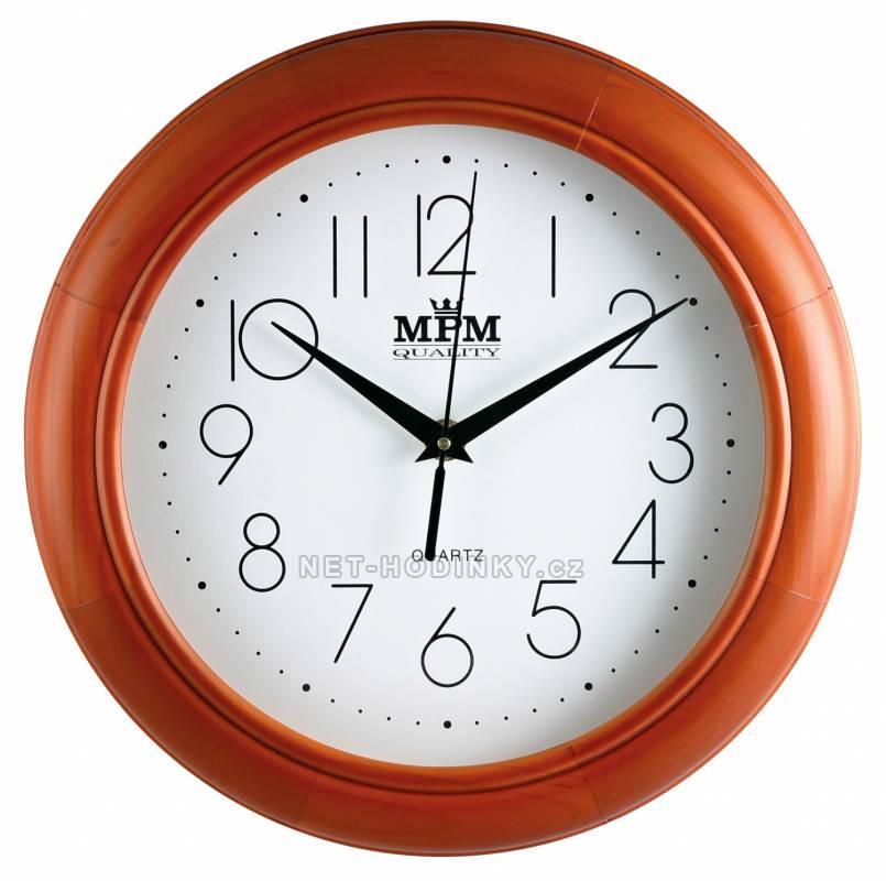 MPM Quality Nástěnné hodiny dřevěné MPM FR26Q, FR26M FR26M - hnědá (do oranžova)