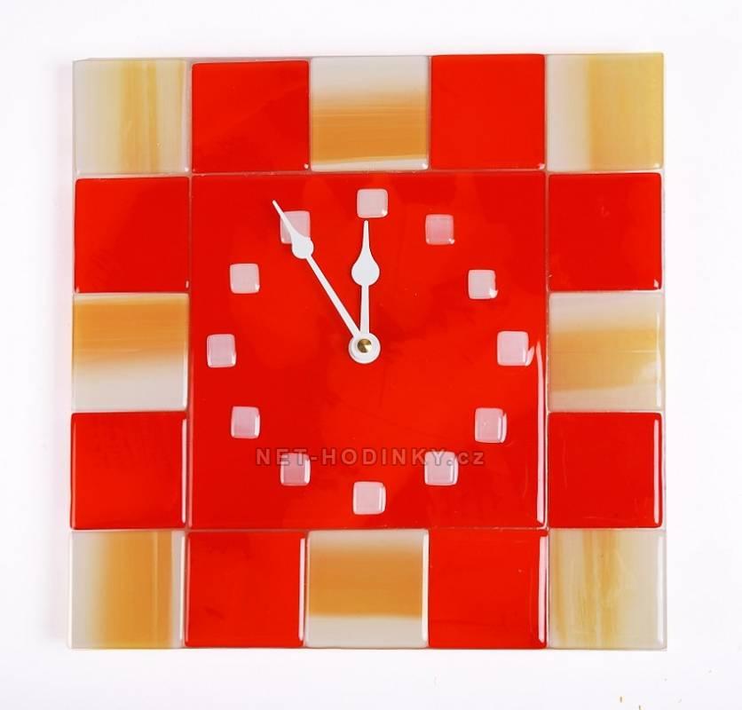autorské hodiny Čtvercové fusingové skleněné nástěnné hodiny ruční výroby
