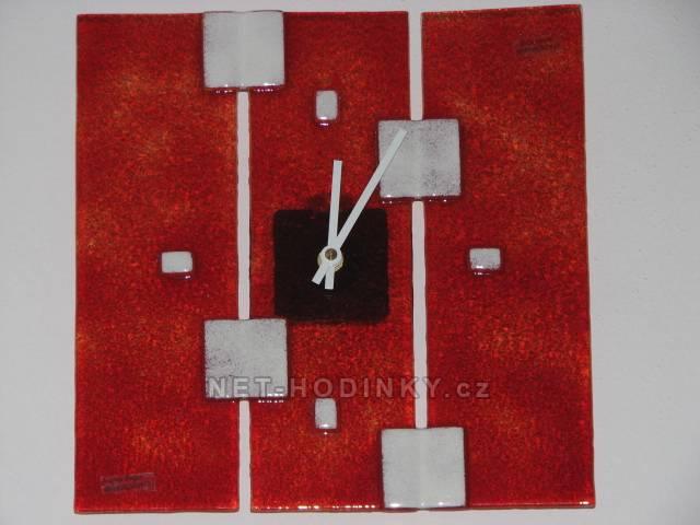 autorské hodiny Čtvercové fusingové skleněné nástěnné hodiny