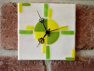 autorské hodiny Fusingové skleněné nástěnné hodiny