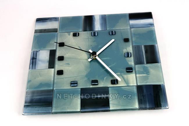 autorské hodiny Skleněné nástěnné hodiny čtverec modré