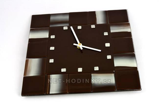 autorské hodiny skleněné hodiny fusing v barvě čokoláda