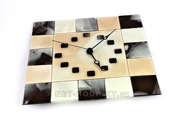 Čtvercové fusingové skleněné nástěnné hodiny ruční výroby