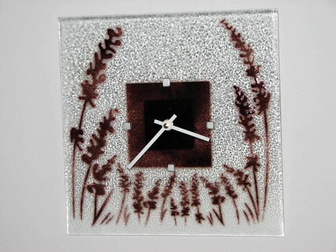 autorské hodiny Čtvercové fusingové skleněné nástěnné hodiny s motivem klasů české ruční výroby
