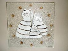 Nástěnné hodiny skleněné čtvercové se sypaným vzorem kočičky