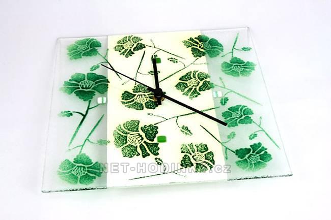 autorské hodiny Čtvercové fusingové skleněné nástěnné hodiny se sypaným vzorem ruční výroby