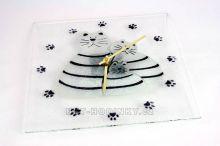 Čtvercové fusingové skleněné nástěnné hodiny se sypaným vzorem ruční výroby