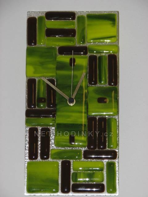 autorské hodiny Originální nástěnné hodiny Fusing zelené s hnědou
