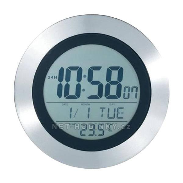Hodiny DCF nástěnné s teploměrem, LCD a alarm