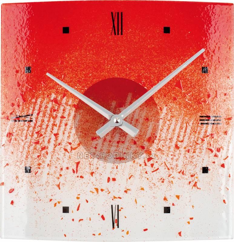 Nástěnné hodiny Skleněné nástěnné hodiny na zeď oranžová - červená Nástěnné hodiny