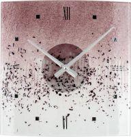 Nástěnné hodiny skleněné 1179.8 fialová čtvercové