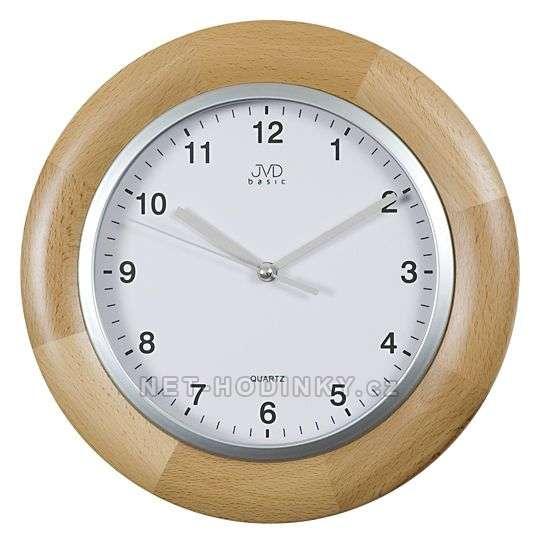 JVD Moderní nástěnné hodiny na zeď kulaté dřevěné N26065.68.1