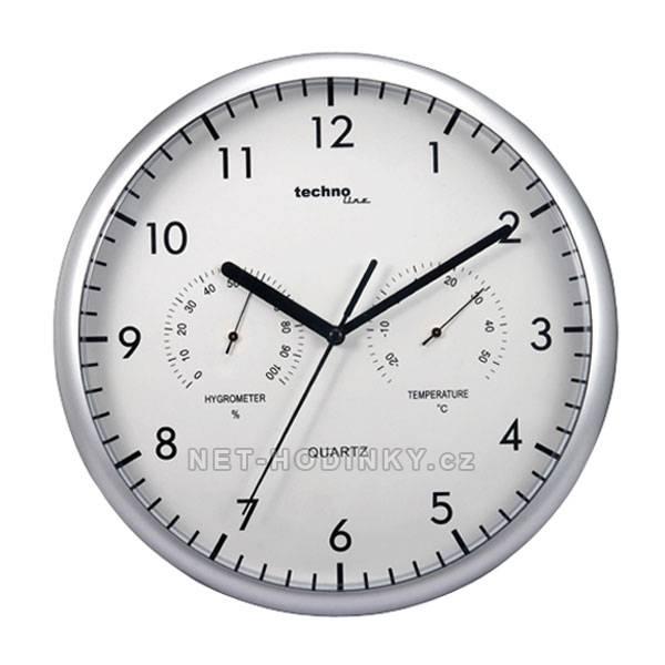Nástěnné hodiny s vlhkoměrem a teploměrem Tecnoline