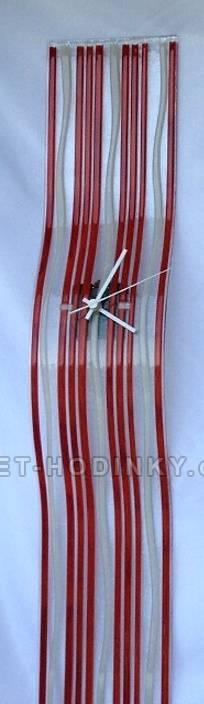 autorské hodiny Velké skleněné nástěnné hodiny Fusing červené ruční výroby