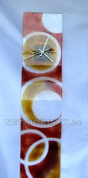 autorské hodiny Velké skleněné nástěnné hodiny Fusing s kroužky ruční výroby
