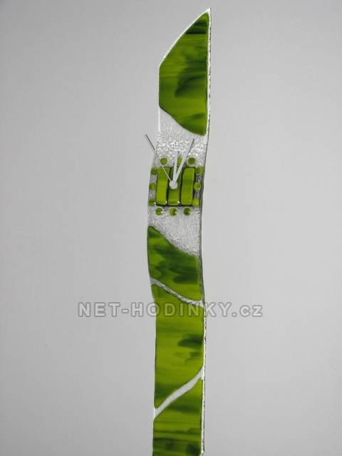 autorské hodiny Velké skleněné nástěnné hodiny Fusing zelené ruční výroby