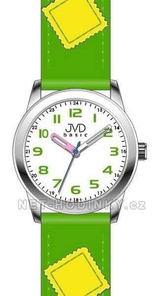 Náramkové dětské hodinky JVD basic W61. 1.1, W61.2.2, W61.3.3, hodinky pro holky a kluky W61.2.2 zelená