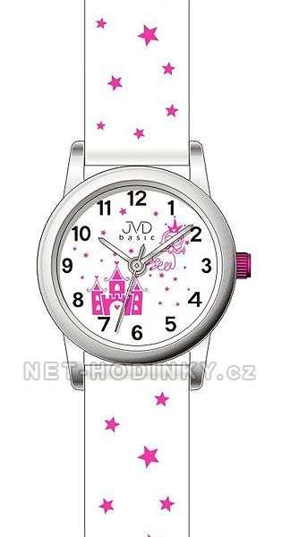 JVD Náramkové hodinky dětské, hodinky pro holky bílá J7135.3.3 bílá-růžová