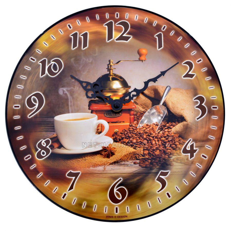 Nástěnné hodiny na stěnu, nástěnné hodiny na zeď MOST SKLADEM KÁVA