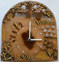 Nástěnné keramické hodiny stromy, kytky