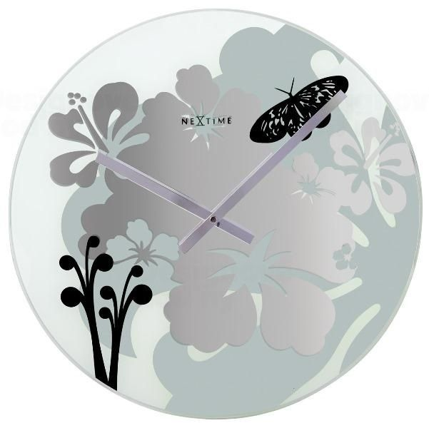 NeXtime Skleněné nástěnné hodiny na zeď SKLADEM