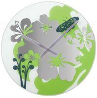 Designové nástěnné hodiny 8087gn Nextime Hibiscus green 43cm