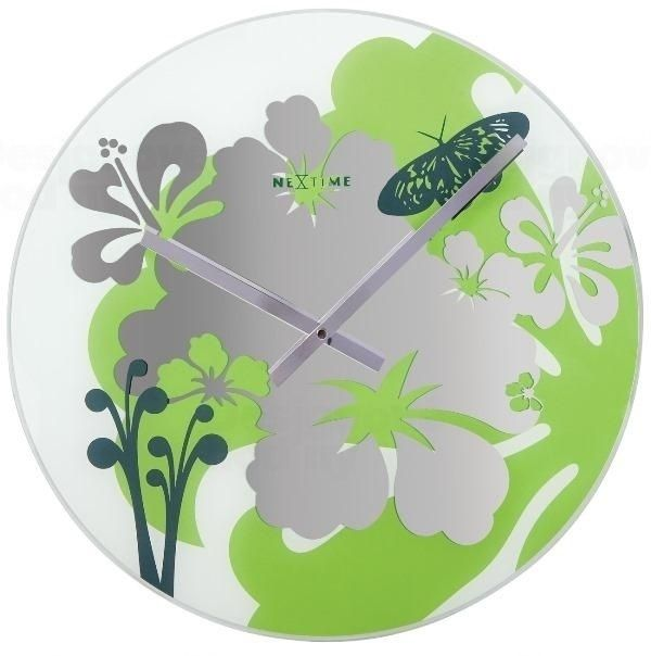 NeXtime Nástěnné hodiny z mléčného skla Nextime Hibiscus green 8087gn