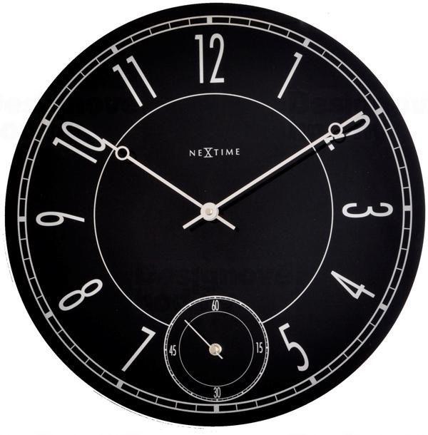 NeXtime Nástěnné hodiny skleněné - černé Nextime LEITBRING 8144