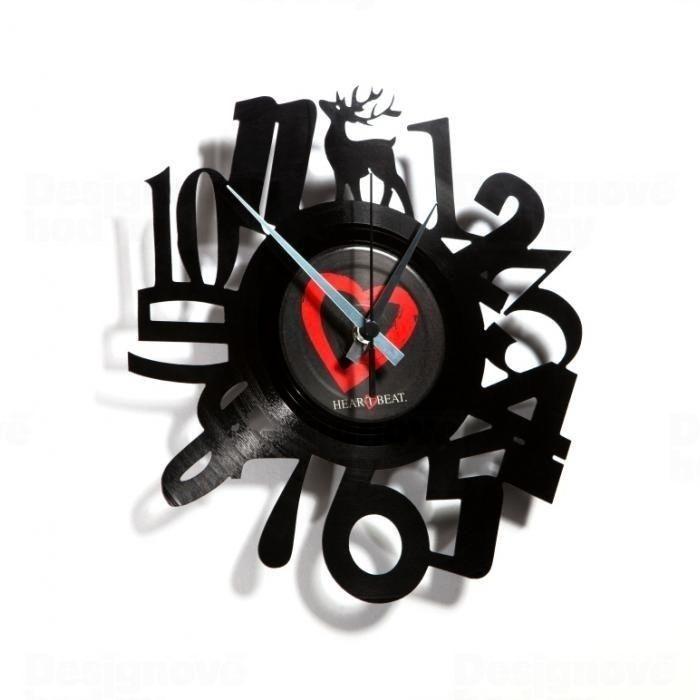 Moderní designové hodiny z gramofonové desky Discoclock 001 motiv Čísla