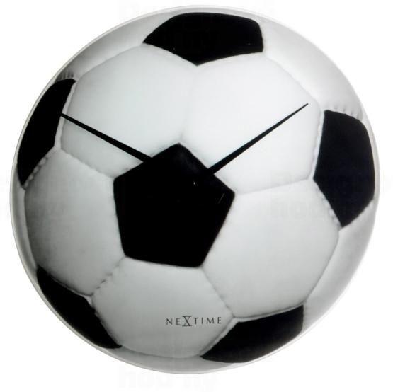 Moderní nástěnné hodiny značky Nextime s motivem fotbalového míče Johan 8804