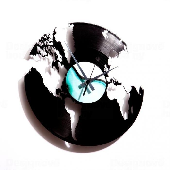 Moderní a originální designové hodiny z vinylové desky Discoclock 014 s motivem Svět