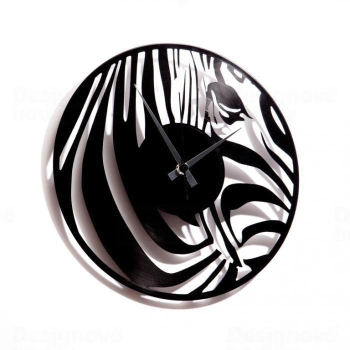 Moderní designové hodiny z gramofonové desky Discoclock 017 s motivem zebry
