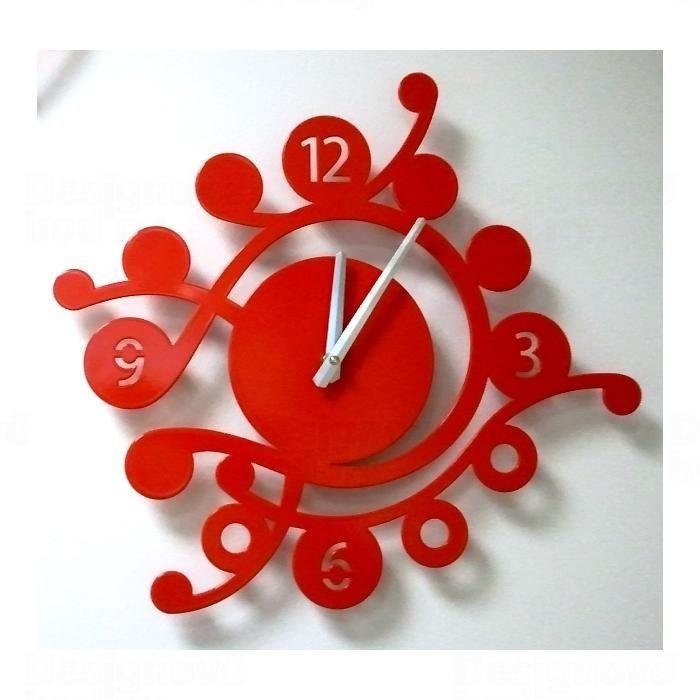 Designové nástěnné hodiny Camea V 43cm Laskowscy barvy kov červená RAL 3020 Laskowscy Design