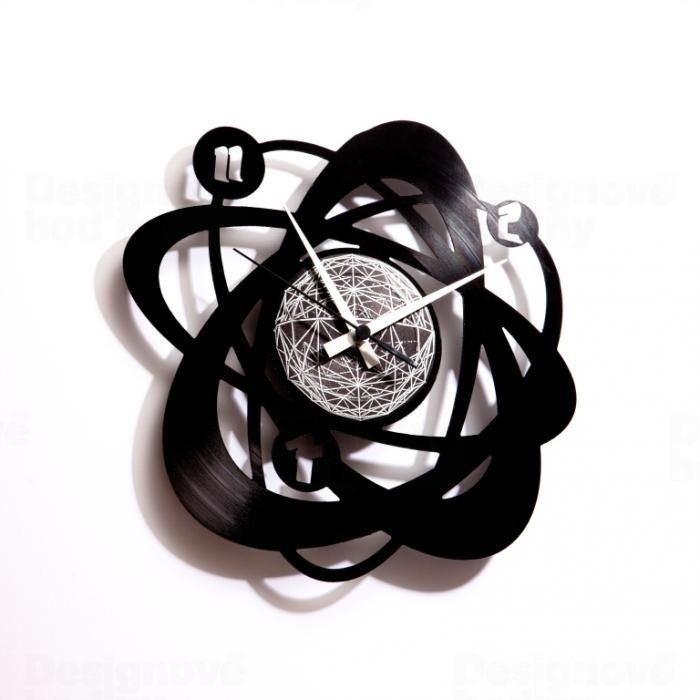 Hodiny designové z gramofonové desky Discoclock 021 Atomium