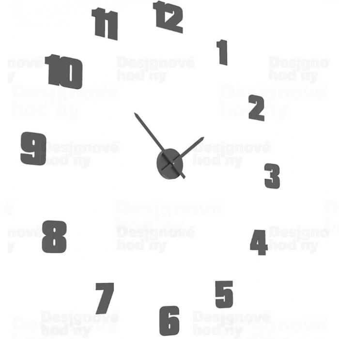 CalleaDesign Nalepovací hodiny na zeď dřevěné s tichým chodem Calleadesign 1572Mblack