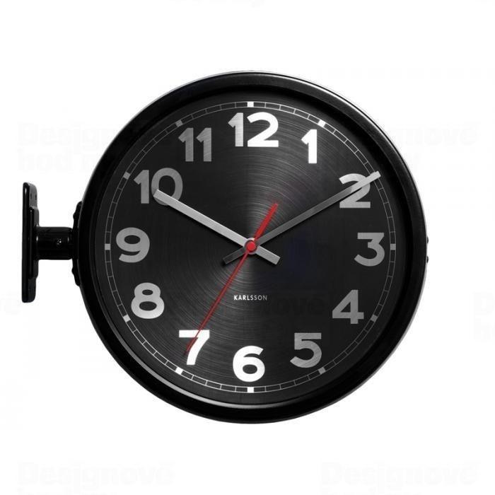 Karlsson Designové oboustranné hodiny z nerezového lakovaného kovu