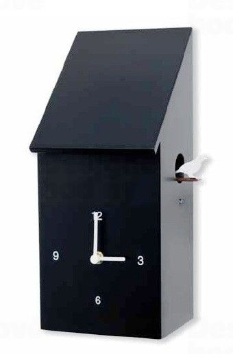 Diamantini&Domeniconi Stylové dřevěné nástěnné hodiny s kukačkou v černé barvě