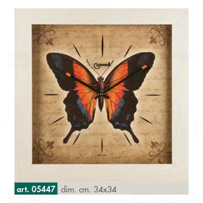 Lowell Italy Moderní HAND MADE nástěnné hodiny značky Lowell 05447 - motiv motýl