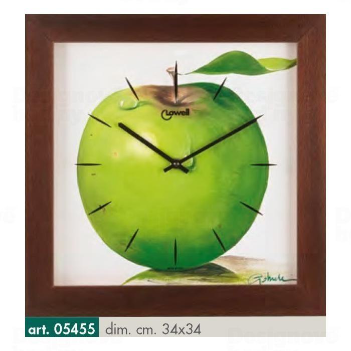 Lowell Italy Zajímavé dřevěné nástěnné hodiny s tichým plynulým choden a motivem zeleného jablka italské ruční výroby