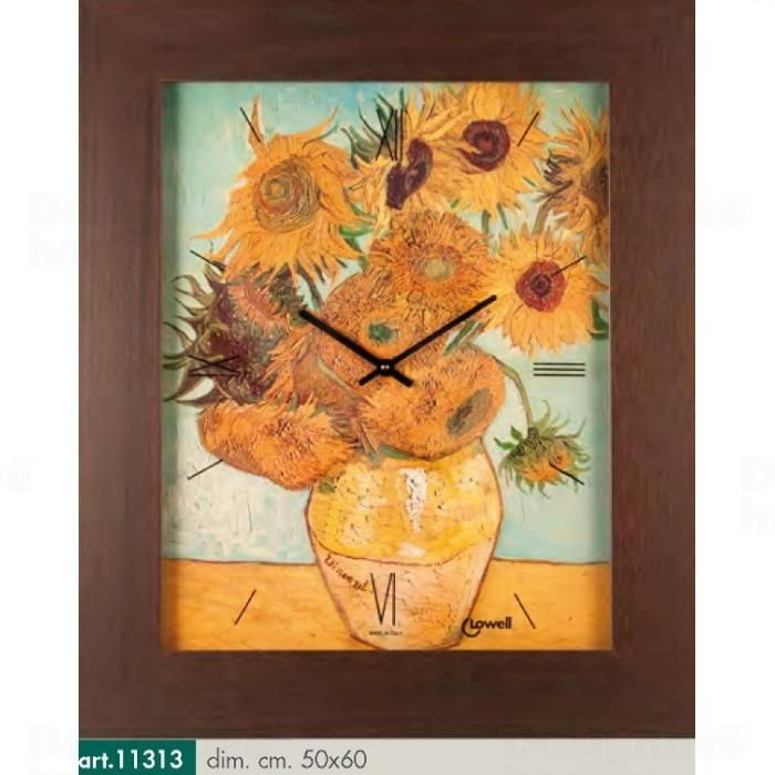 Lowell Italy Stylové dřevěné nástěnné hodiny s motivem Vincenta van Gogha - Slunečnice