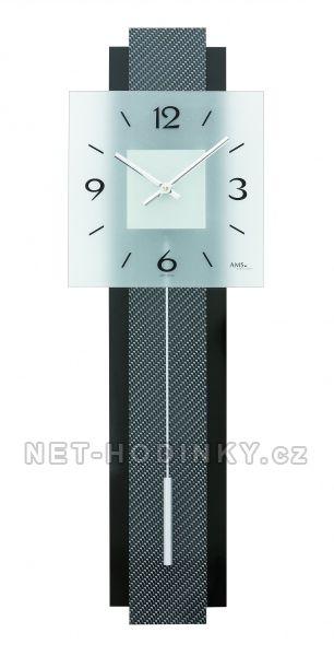 Kyvadlové hodiny pendlovky AMS 7313 karbon hodiny na zeď - ams 7313 černá karbon