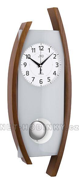 Rádiem řízené kyvadlové nástěnné hodiny JVD na zeď, pendlovky quartzové NR12092/11.1 ořech