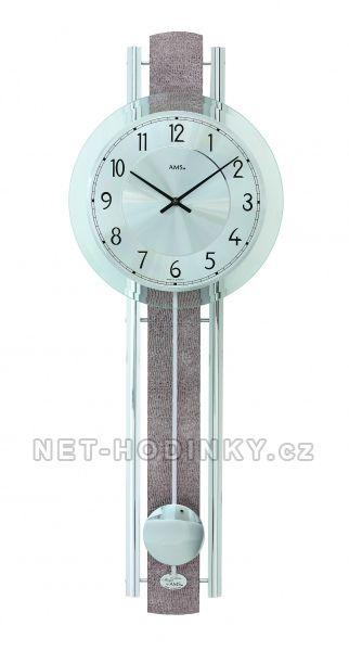 AMS Kyvadlové nástěnné hodiny na zeď, pendlovky quartzové 7382 stříbrná