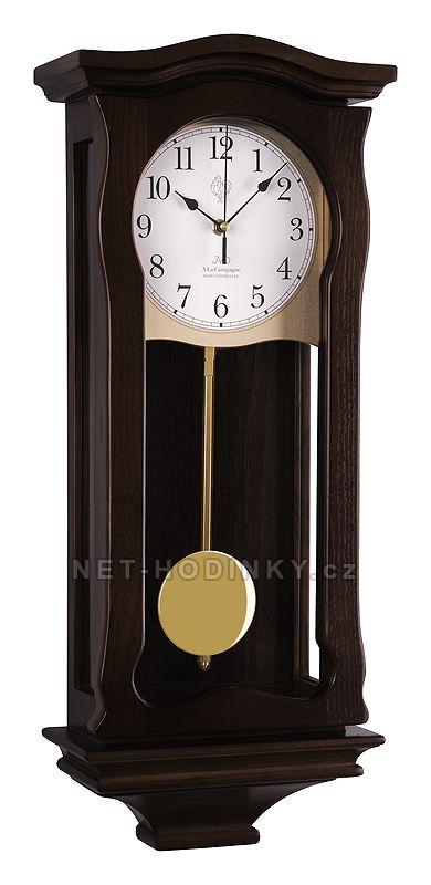 JVD Kyvadlové nástěnné hodiny na zeď, pendlovky quartzové NR2219/23 tmavý dub