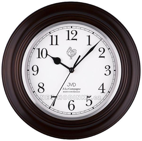 JVD Nástěnné hodiny na stěnu olše, tmavý dub, ořech, třešeň, dřevěné hodiny Rádiem řízený čas z Frankfurtu n. M. (RCC) NR27043.23.2 tmavý dub