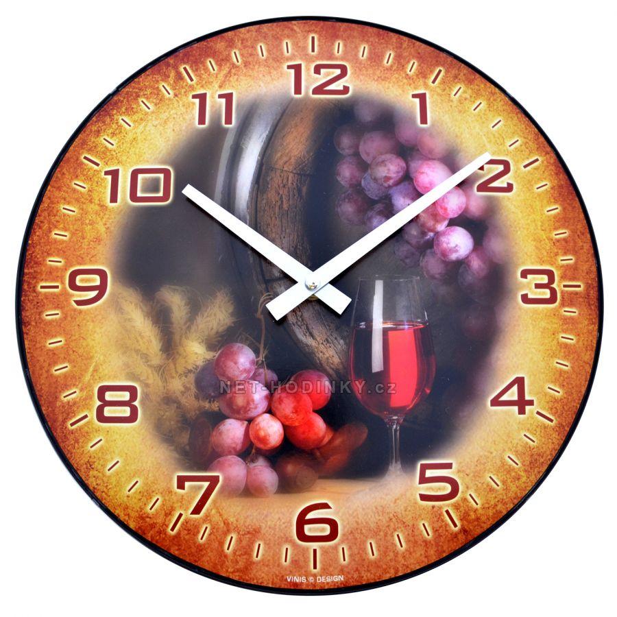 Nástěnné hodiny na stěnu H701 růžové víno