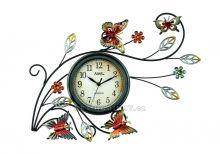 Nástěnné hodiny kovové AMS 9446 motiv motýli a květiny