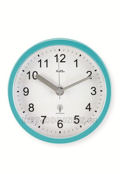 AMS Nástěnné voděodolné hodiny do bazénové haly, do koupelny na stěnu, rádiem řízený čas 5921 tyrkys